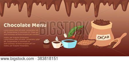 Chocolate Shop Brown Menu Vector Illustration. Cartoon Flat Web Banner Design With Border Of Chocola