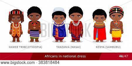 Hamer Tribe, Ethiopia, Tanzania, Masai, Kenya, Samburu. Men And Women In National Dress. Set Of Afri