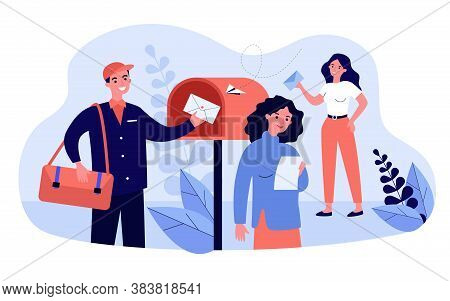 People Receiving And Reading Marketing Newsletter. Postman Placing Envelope Into Mailbox. Vector Ill