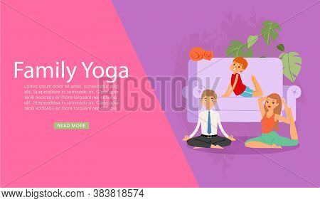 Family Yoga Banner, Health Sport Life, Healthy Parent Lifestyle, Fitness Training, Design, Cartoon S