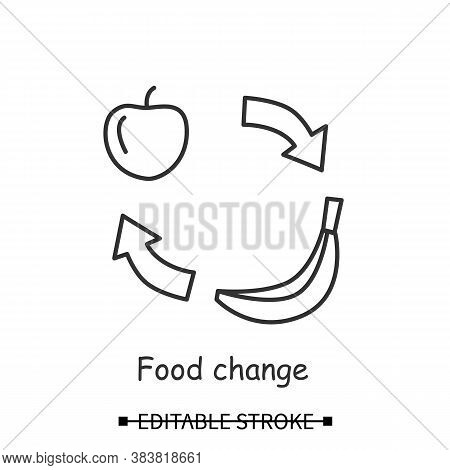 Food Change Icon. Apple And Banana With Cycle Arrows Line Pictogram. Concept Of People And Animals N