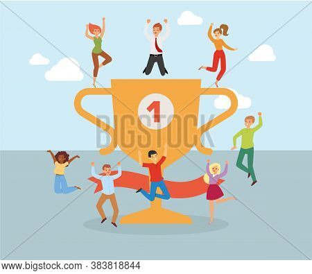 Happy Business People, Composition Character Success People, Office Celebration Concept, Design, Car