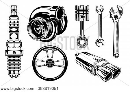 Vintage Car Repair Elements Set. Monochrome Parts And Tools, Retro Chrome Engine, Wrenches Concept.