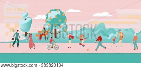 People City Flat Pink Composition, Woman And Girl Go In For Sports, City Road For Cycling And Hiking