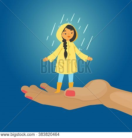 Joyful Girl In Rain, Blue Background, Happy, Colorful Autumn Day, Child Without Umbrella, Design Car