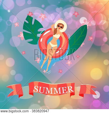 Summer Inscription On Ribbon, Background Information, Womens Beach, Sunny Day, Design Cartoon Style