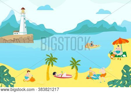 Summer Rest Peoples On Beach, Young Girls Lying In Sand, Warm Sea, Seascape, Lifestyle, Design Carto