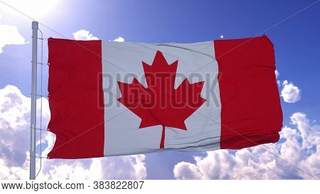 Flag Of Canada Also Known As The Maple Leaf Fluttering In The Breeze. 3d Illustration