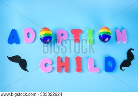Adoption Child - Word Adoption Composed Of Colored Letters And Two Rainbow Color Eggs Symbol Lgbt Co