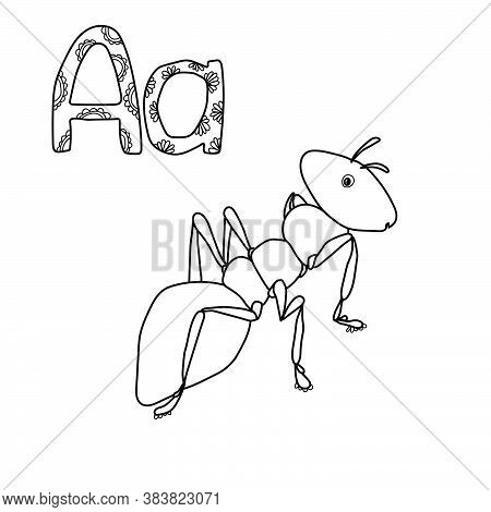 Letter A - Ant, English Abc With Cute Animals, Coloring Page For Kids Learning, Volumetric Letters W