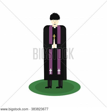 Asian Catholic Priest. The Pastor Reads A Prayer, Holds A Cross, Bible And Gospel. Cartoon Flat Vect