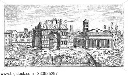 Arch of Janus in Rome, Etienne Duperac, 1575 View of the remains of the Arch of Janus in Rome. On the right the church of Santa Maria in Cosmedin, vintage engraving.