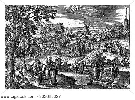 Above the center of the zodiac sign Virgo. In the left foreground Christ with some Pharisees, pointing him to the apostles who are picking corn on the Sabbath, vintage engraving.