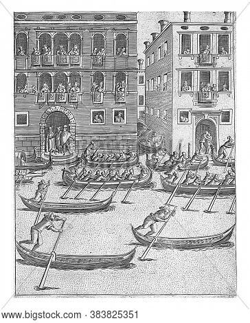 Competition of gondolas and rowing boats in Venice, Above in the foreground a competition of gondolas and rowing boats. The palazzi located on the water is watched, vintage engraving.