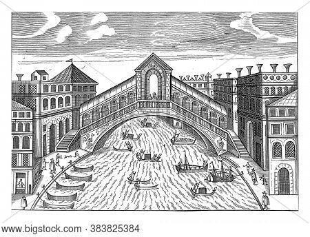 Rialto Bridge in Venice, anonymous, 1600 - 1699 The Rialto Bridge over the Grand Canal in Venice. Sailboats and gondolas sail on the water, vintage engraving.
