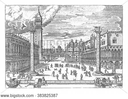 View of the Piazzetta with the Biblioteca Marciana and the Campanile di San Marco on the left and the Doge's Palace and San Marco on the right, vintage engraving.