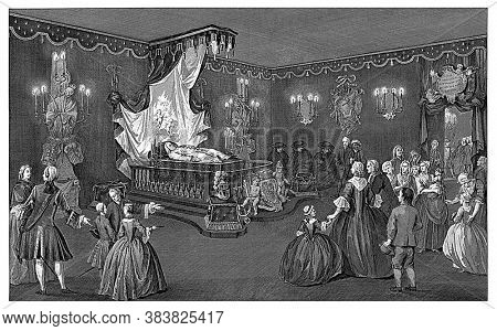 View of the room with visitors in front of the bed with the body of Prince William IV, vintage engraving.