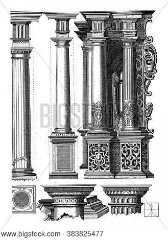 Four examples of columns of the Doric order. Three columns stand on one foot. Two pillars with flutes. At the bottom a base, two capitals etc, vintage engraving.