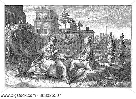 Semele, daughter of Cadmus, is visited by Juno in the guise of her old lover Beroe. They sit opposite each other in a hedged walled garden. Juno has a grudge against Semele, vintage engraving.