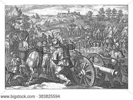 Cosimo de 'Medici and his troops advance to Monteriggioni, near Siena. In the foreground, a cannon is pulled by ten oxen, vintage engraving.