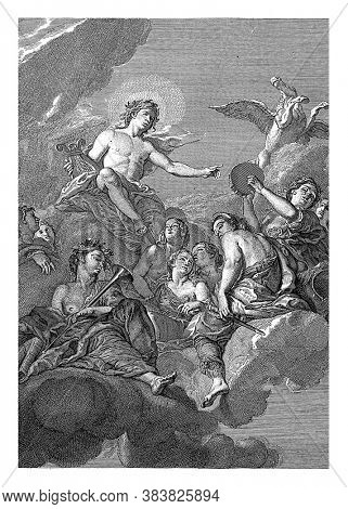 Ceiling piece with the god Apollo, enthroned on the clouds with the lyre in his hand, amid the muses. Top right are his winged horse Pegasus, vintage engraving.