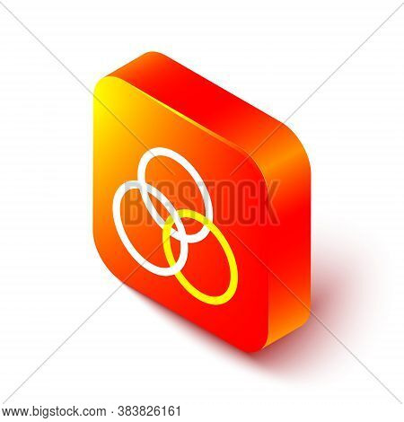 Isometric Line Rgb And Cmyk Color Mixing Icon Isolated On White Background. Orange Square Button. Ve