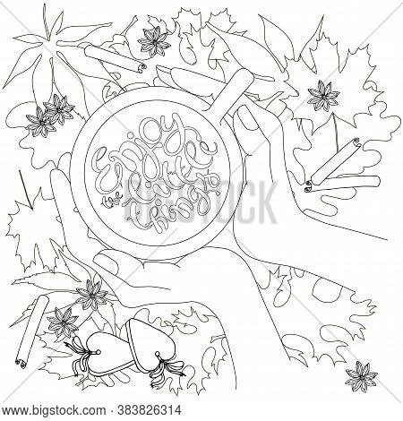 Enjoy The Little Things On Leaves Monochrome Motivation Banner. Cup In Hands Top View On Maple Oak L