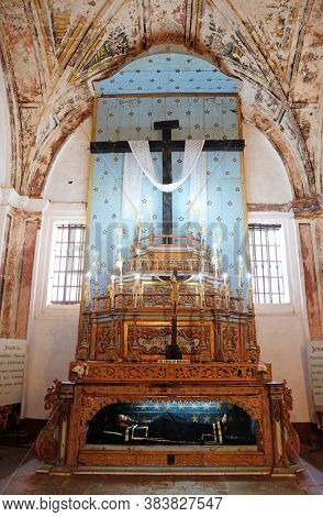 OLD GOA, INDIA - FEBRUARY 18, 2020: Altar of the Holy Cross in Se cathedral dedicated to Catherine of Alexandria, Old Goa, Goa, India