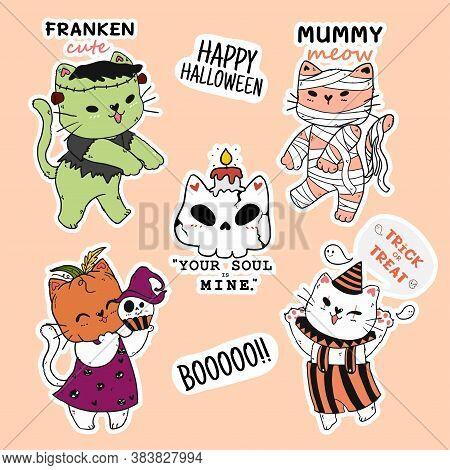 Cute Cat Halloween Sticker Collection, Pumpkin Head, Mummy, Doodle Outline, Idea For Sticker, Sublim