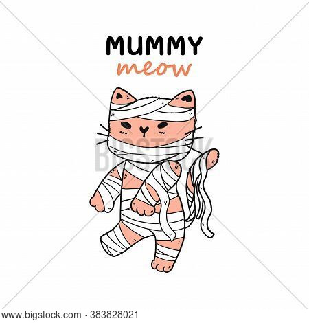 Cute Mummy Cat Halloween Funny Costume Vector, Idea For Sublimation, Greeting Card, Planner, Journal