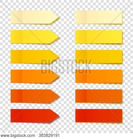 Realistic Orange Sticky Notes Collection. Arrow Flag Tabs. Post Note Stickers. Colorful Sticky Paper