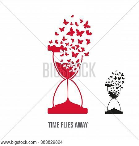 Hourglass With The Effect Of Destruction. Butterflies Or Moths. Concept - Time Flies.