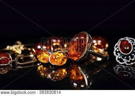 Jewelry With Amber Stones, Amber Necklace Ring And Earring And Pendant With Noble Metal Like Gold, I