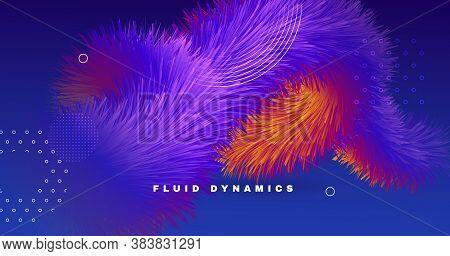Blue Neon 3d Liquid Shapes. Color Digital Poster. Flow Vibrant Template. Colorful Futuristic Motion.