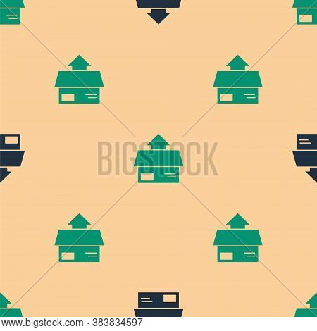 Green And Black Carton Cardboard Box Icon Isolated Seamless Pattern On Beige Background. Box, Packag