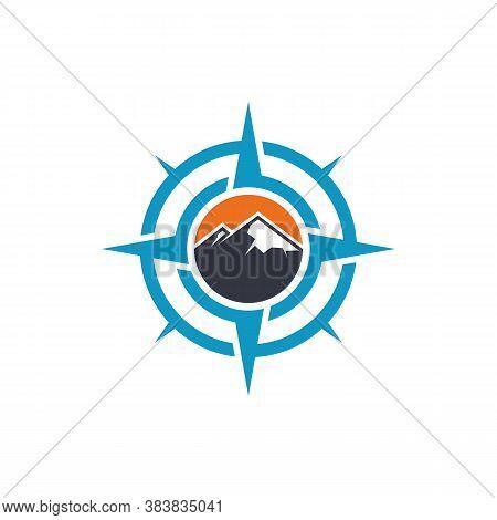 Climber With Compass Logo Design Vector Template. Outdoor Activity Logo Symbol