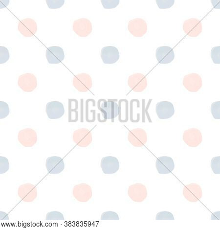 Seamless Blue Pink Watercolor Polka Dot Pattern On White Background In Nordic Style. Elegant Print F