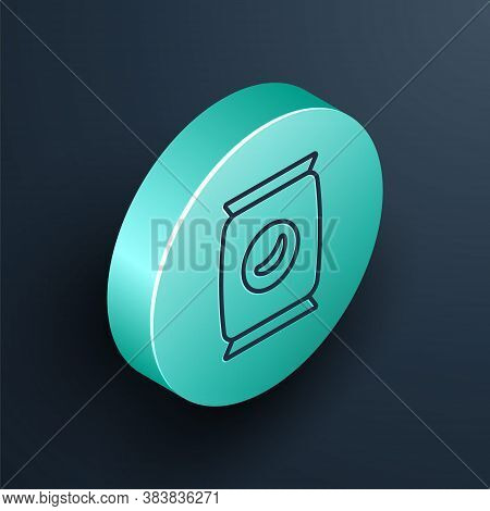 Isometric Line Bag Or Packet Potato Chips Icon Isolated On Black Background. Turquoise Circle Button