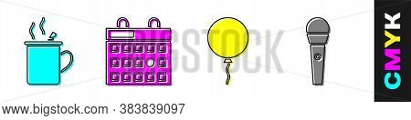 Set Mulled Wine, Birthday Calendar, Balloon With Ribbon And Karaoke Microphone Icon. Vector