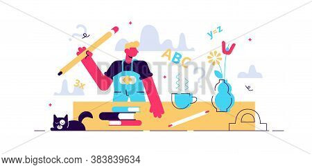 Homework Vector Illustration. Flat Tiny School Tasks Study Persons Concept. Pupil Learning Or Writin