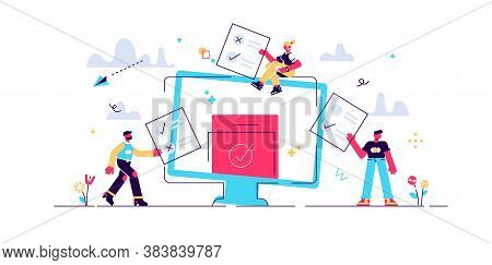 Online Voting Mini People Concept Flat Vector Illustration With Computer Screen,voting Box And Voter