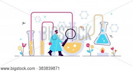 Chemistry Industry Vector Illustration. Flat Mini Science Research Persons Concept. Experimental Med