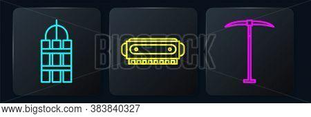 Set Line Detonate Dynamite Bomb Stick, Pickaxe And Harmonica. Black Square Button. Vector