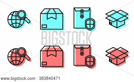 Set Line Envelope With Shield, Magnifying Glass With Globe, Carton Cardboard Box And Carton Cardboar