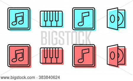 Set Line Music Note, Tone, Music Note, Tone, Music Synthesizer And Vinyl Player With A Vinyl Disk Ic