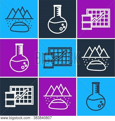 Set Line Oilfield, Oil Price Increase And Oil Petrol Test Tube Icon. Vector