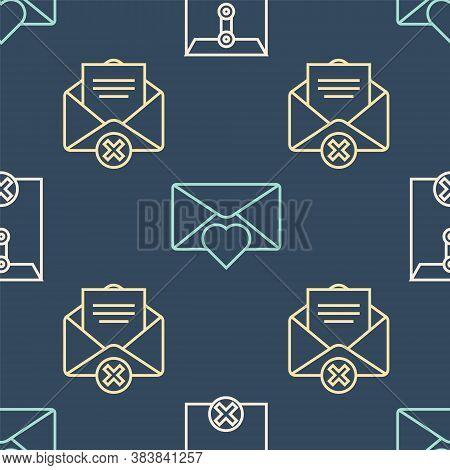 Set Line Delete Envelope, Delete Envelope And Envelope With Valentine Heart On Seamless Pattern. Vec