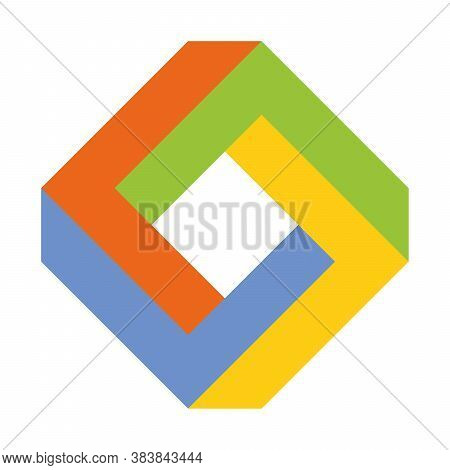 Impossible Square Icon. Geometric 3d Object Optical Illusion. Vector Illustration