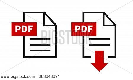 Pdf File Download Icon. Vector Isolated Elements. Documents Format.