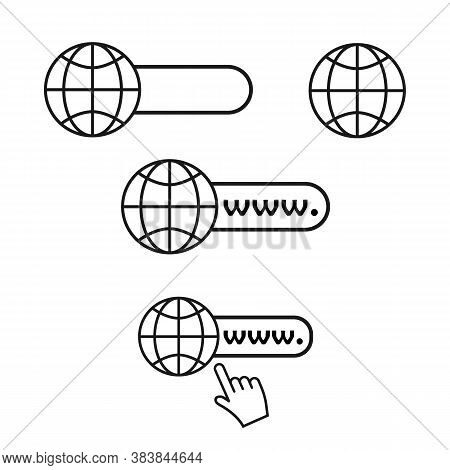 Web Site Icons Set. Internet Browser Bar, Globe, Computer Mouse Arrow. Vector Isolated. Black Signs